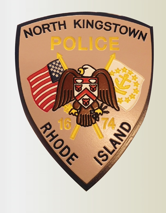 PP-2390 - Engraved Wall Plaque of the Shoulder Patch of the North Kingston Police, Rhode Island,  Artist Painted
