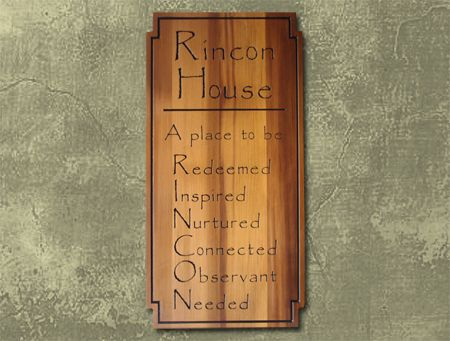 N23160 - Engraved Cedar Wood Wall Plaque for Rincon House