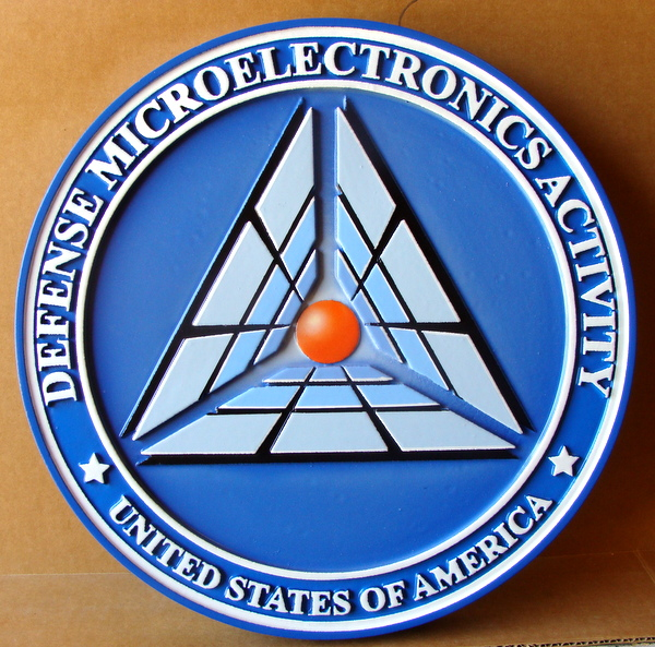 IP-1780 -  Carved Plaque of the Seal of the Defense Microelectronics Activity,  Artist Painted