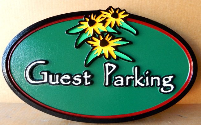 "KA20686 - Carved HDU Sign for ""Guest Parking"" with Carved Flowers"