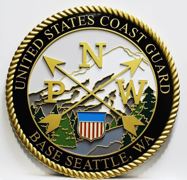 NP-2253 - Carved 2.5-D HDU Plaque of the Crest of the US Coast Guard Base Seattle , Washington