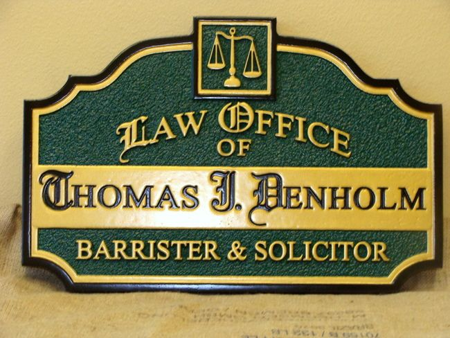 A10055  - Carved HDU Law Office Sign for Barrister & Solicitor