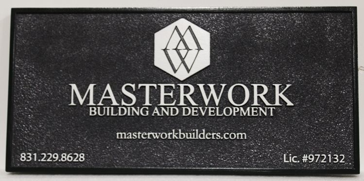 """S28140 - Carved Sign for the """"Masterwork Building and Development""""Company"""