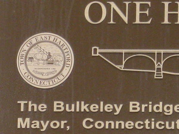Cast Bronze Plaque, Large 3 ft x 5 ft, Detail of E. H. Town Seal and Bulkeley Bridge, Riverfront Park North Walk Project