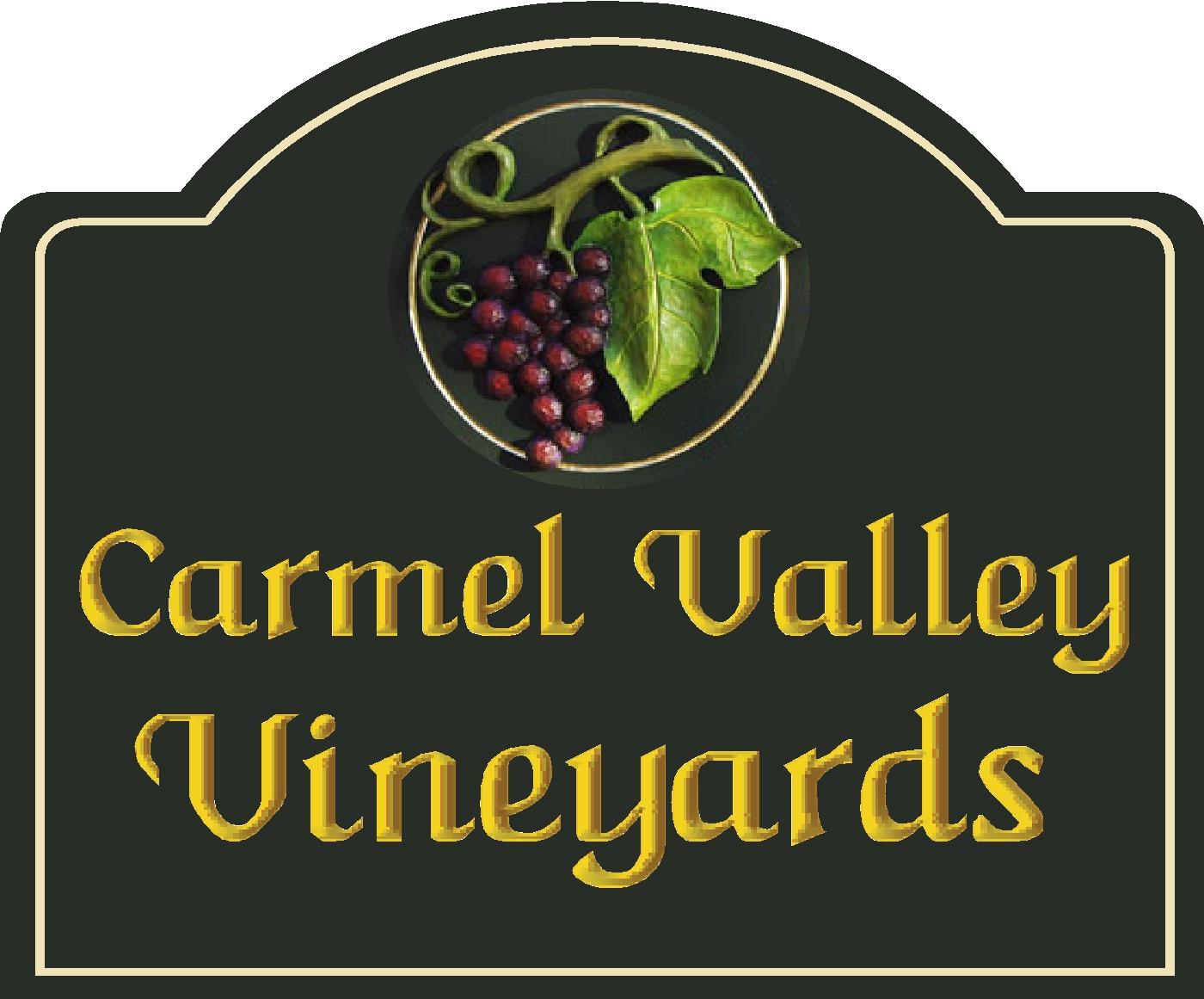 R27068 - Carved Carmel Valley Vineyards Entrance Sign, with 3D Grape Cluster