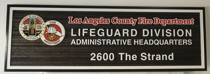 QP-3160 - Carved Sign  Plaque for the Los Angeles County  Fire Department, Lifeguard Division, California,  Artist Painted