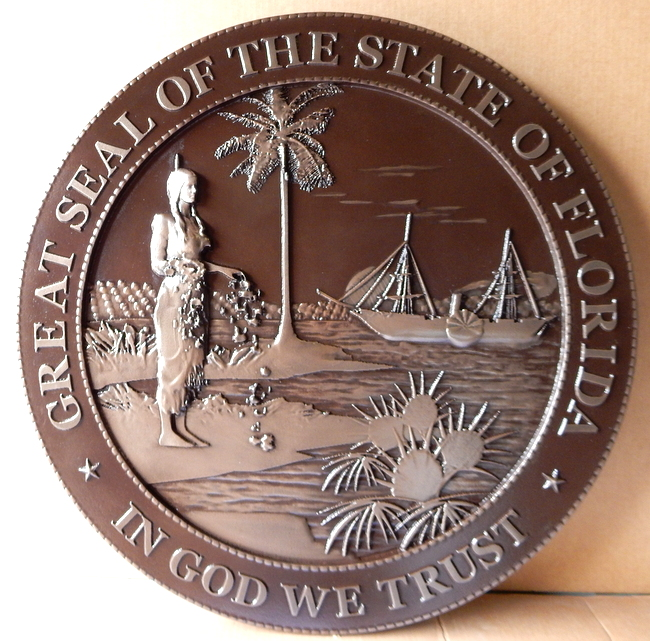 W32113A - Large Round Wall Plaque, 3D Bas-Relief, of the Great Seal of the State of Florida (old version), Silver-Nickel coated with dark patina.
