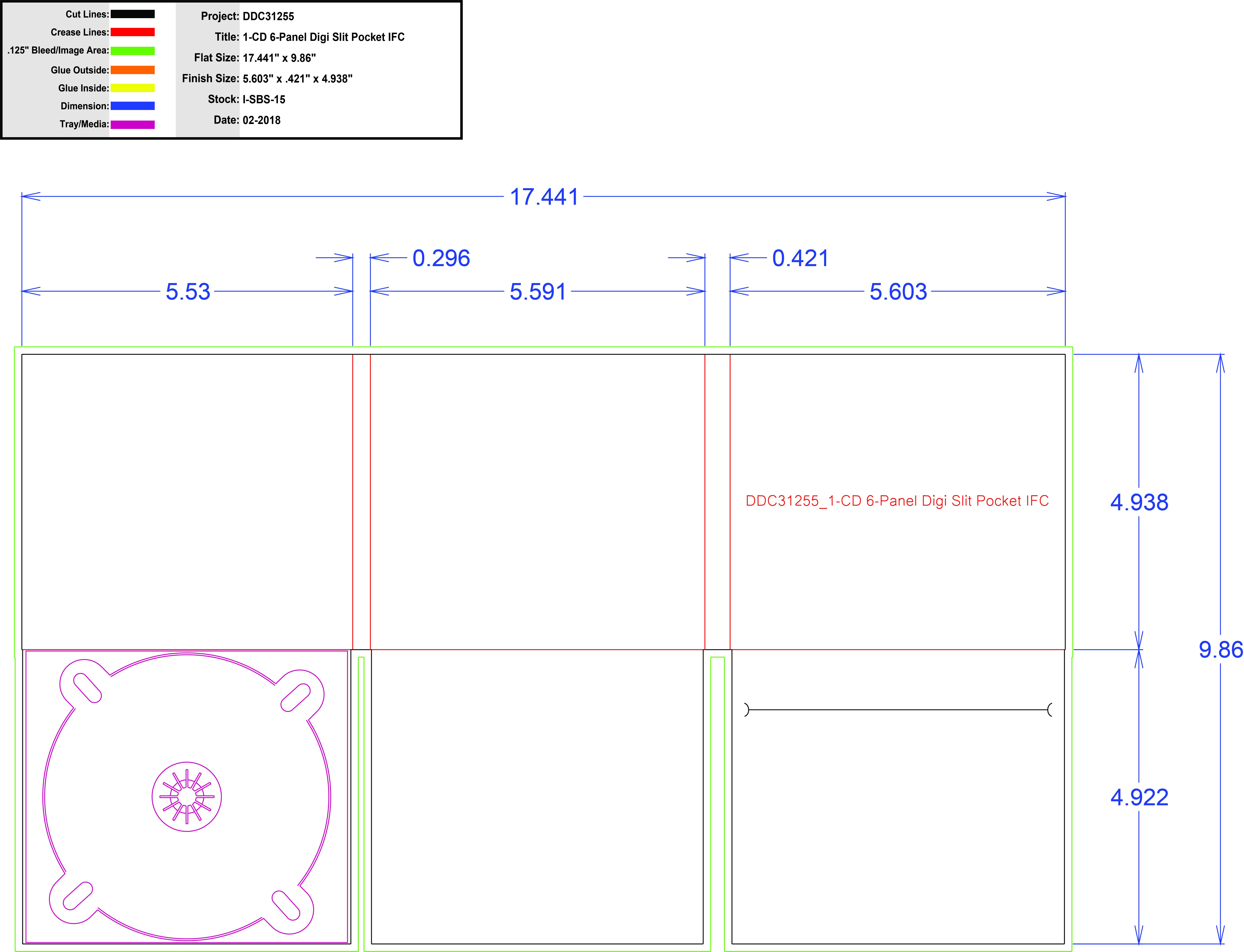 DDC31255 6 Panel Digi 1 Tray, Slit Pocket