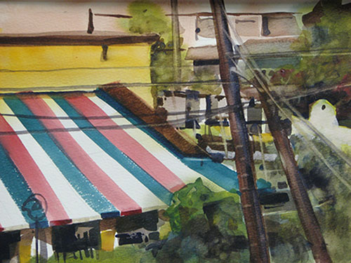 """The Awning, watercolor, 11"""" x 15"""""""