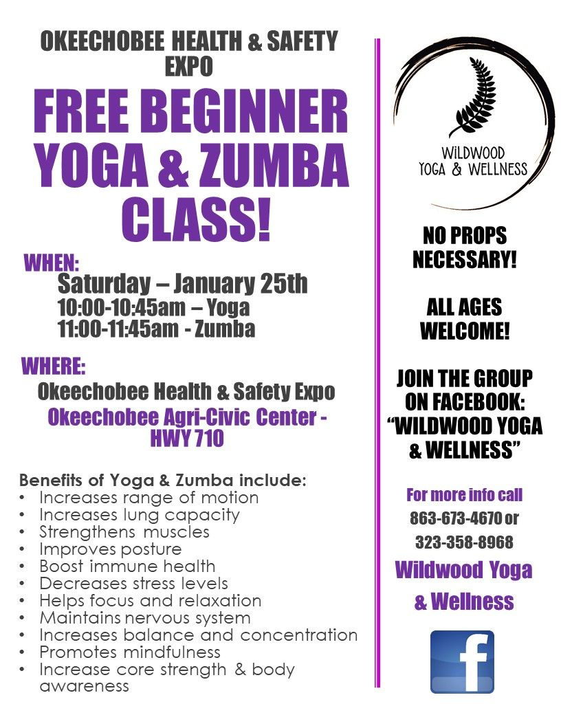 FREE Beginner Yoga & Zumba Class @ Okeechobee Health & Safety Expo
