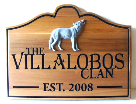 M3080 - Natural Cedar Cabin Sign with Carved Wolf (Gallery 21)