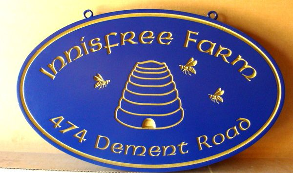 """024752– Carved  Engraved HDU  Sign for """"Innisfree Farm"""", with Beehive"""