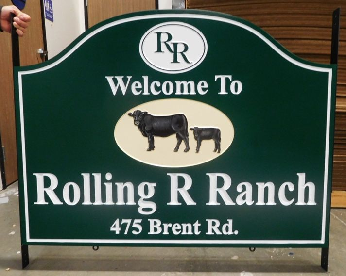 O24117 -  Carved Welcome and Address Entrance Sign for the Rolling R  Ranch with  3D Carved Angus Cow and Calf as Artwork