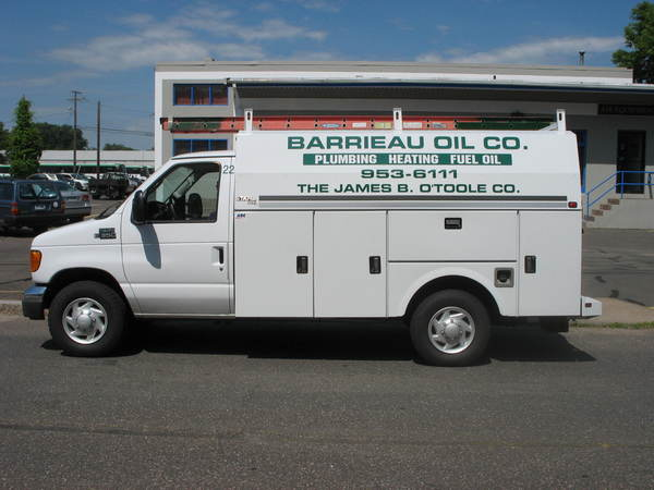 Fleet Lettering, Ford Econoline Utility Truck Body, Lettering and Client Logo