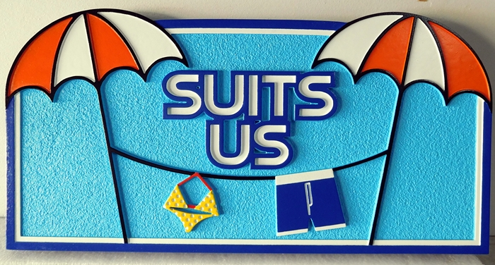 "L21075 - Carved  Beach House Sign ""Suits Us"", with Swimming Suits Hanging in a Clothes line between Two Umbrellas"