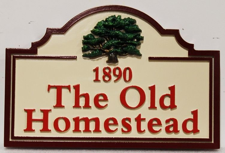 """O24867 - Carved HDU Entrance sign for """"The Old Homestead"""", with an Oak Tree as Artwork."""