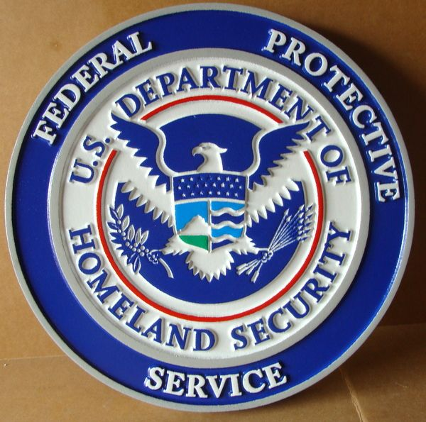 U30173A - Carved 3D HDU Wall Plaque of the Seal of the Federal Protective Service, Dept of Homeland Security