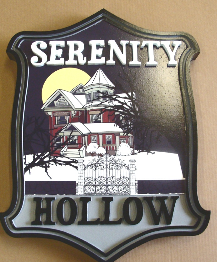 """I18794 - Residence Name Sign """"Sernity Hollow"""",  with Old Mansion as Artwork"""