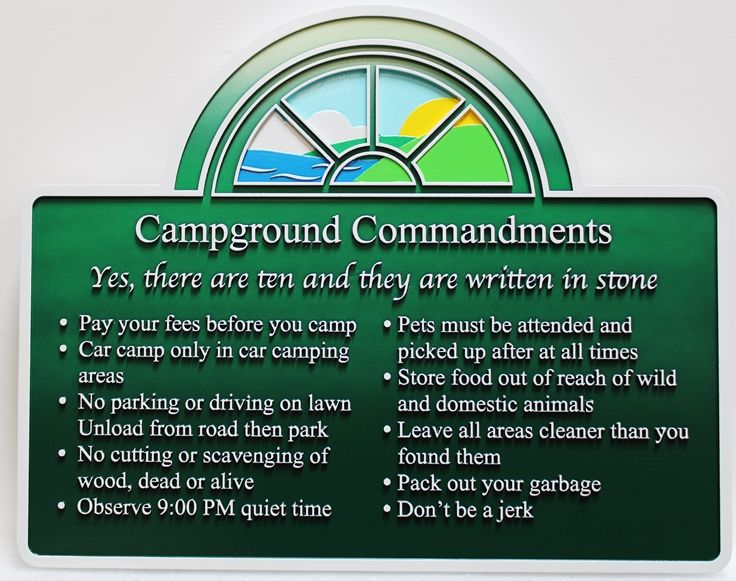 G16353  - Carved Multi-Level  HDU Rules Sign for Paddler's Lane Riverside Camping, with Ocean, Hills and Sky as Artwork