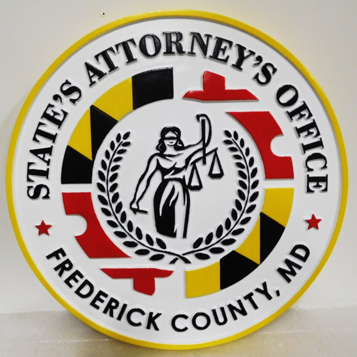 GP-1432 - Carved Plaque of the Seal ofa State's Attorney Office, State of Maryland, 2.5-D,  Artist-Painted