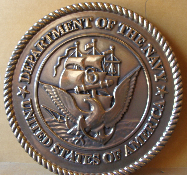 V31218 – Carved, Bronze Metal-Coated HDU plaque of the Seal of the US Navy, Custom Text Optional.