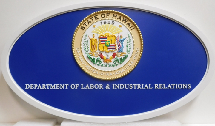 BP-1207 - Carved Plaque of the Seal of the Department of Labor and Industrial Relationsd,  State of California, Artist Painted