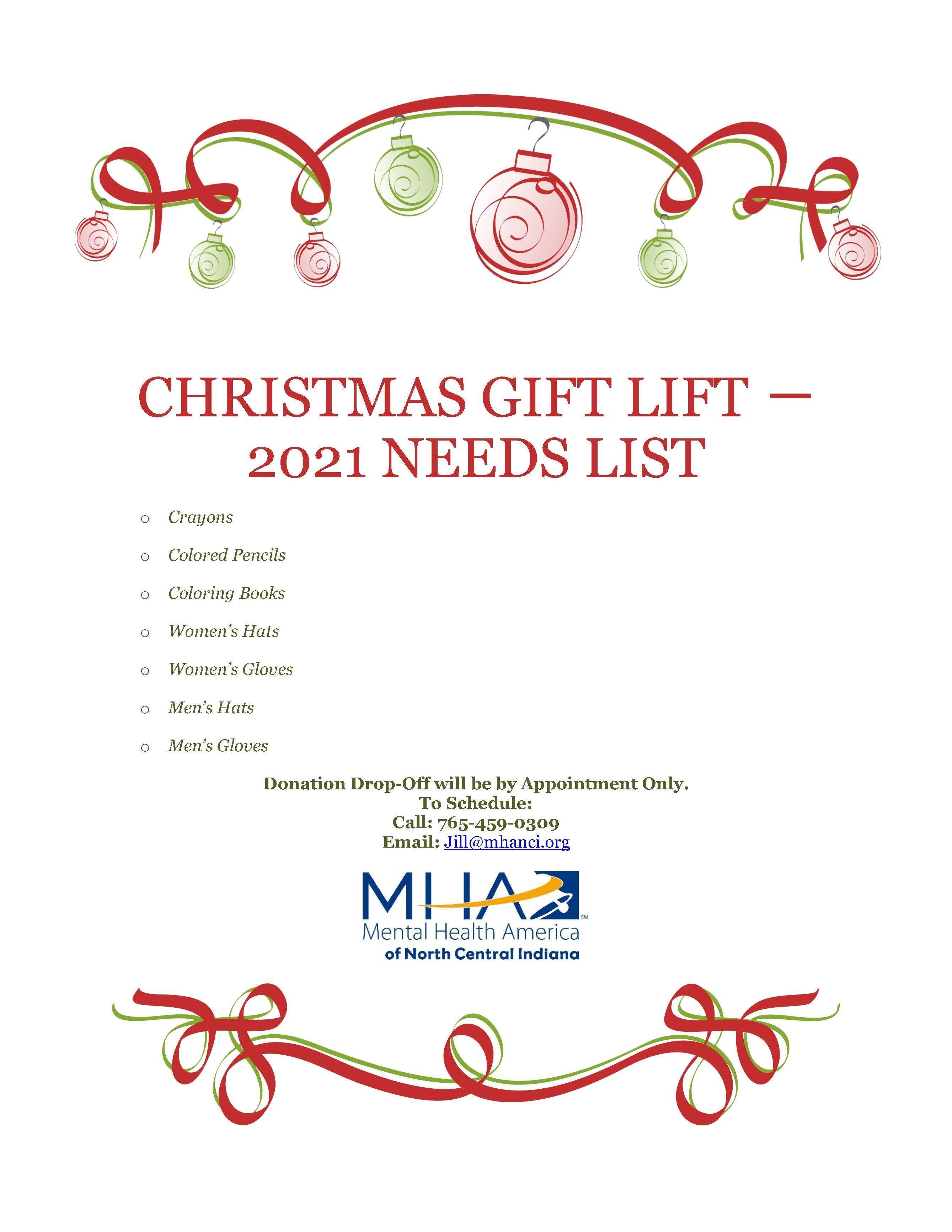 Gift Lift - NEEDS LIST - 2021