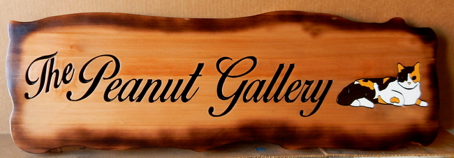 "SA28053 - Stained Cedar Wood Plaque for ""The Peanut Gallery"" with Engraved Script Text and Cat"