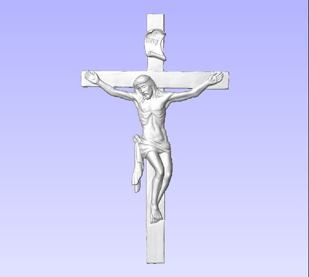 D13407 - Carved 3D Image of Jesus Christ on the Cross