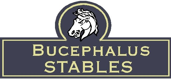 """P25190 - Design of a Carved Wood or HDU Sign for""""Bucephalus Stables,"""" with Carved Horse Head"""