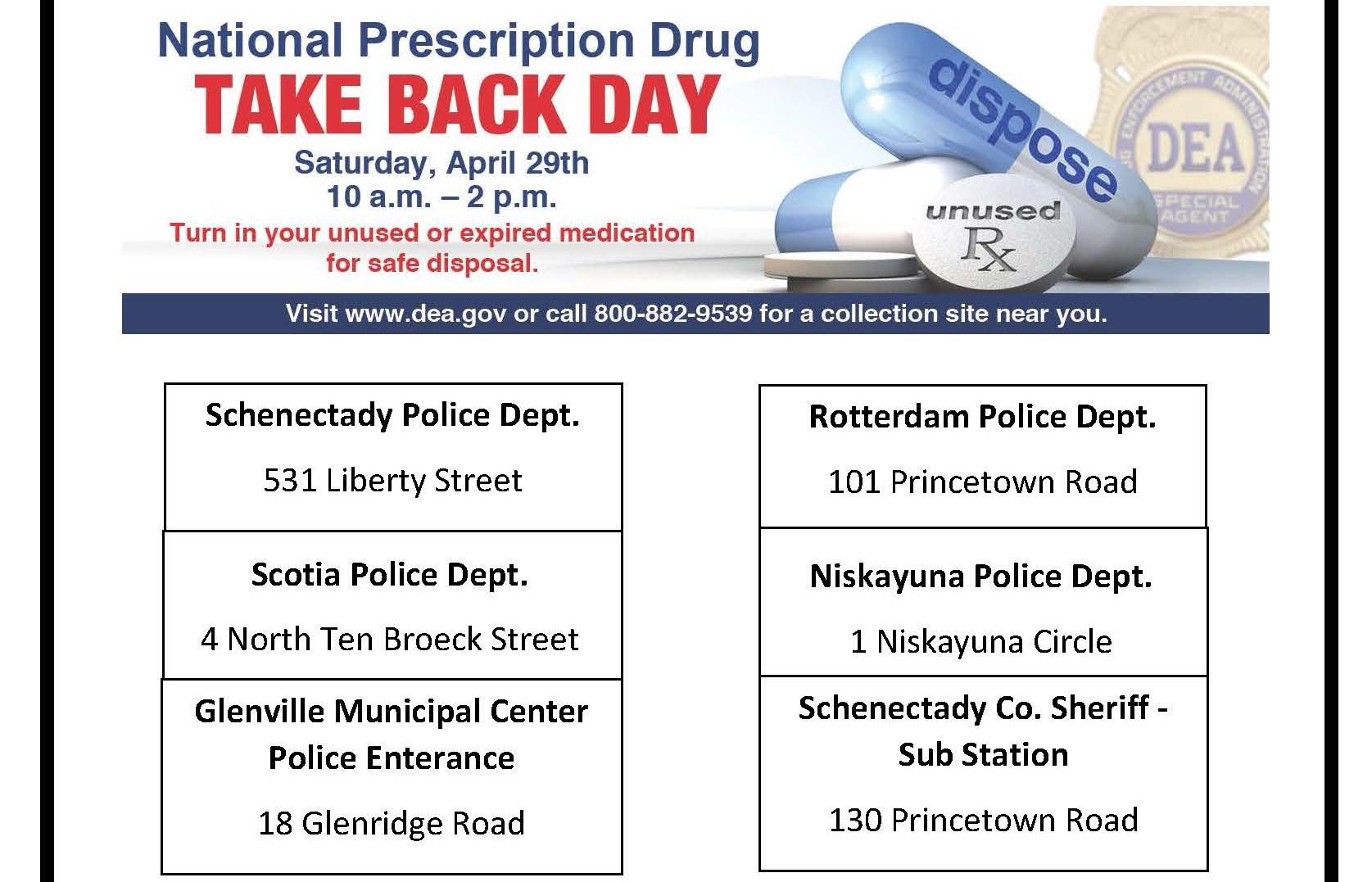 Schenectady County Drug Take Back Day
