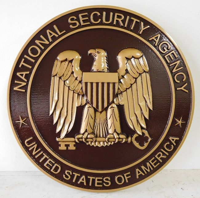 U30412 - Carved 3-D Bronze-Plated Plaque of the Seal of the the National Security Agency (NSA)