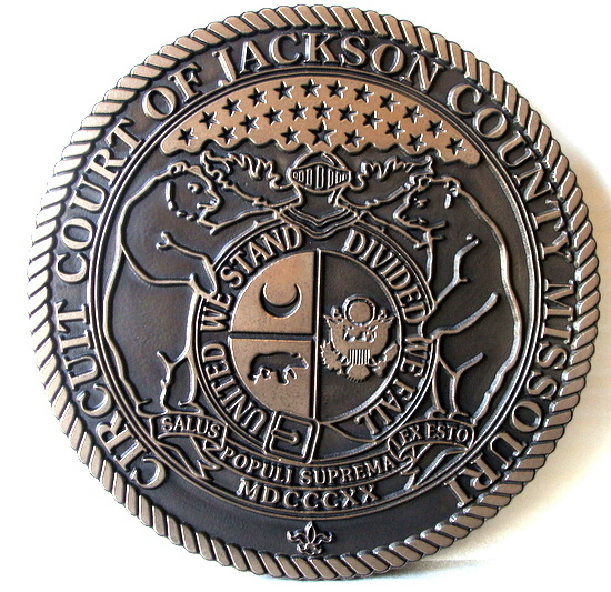 HP-1120 - Carved Plaque of the Seal of the Circuit Court of Jackson County, Missouri, Bronze Plated