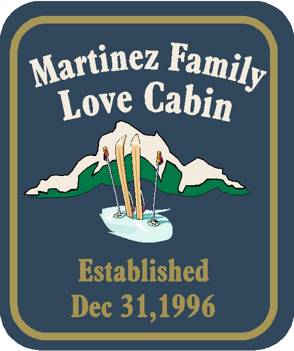 "M22212 - Design for Family ""Love"" Cabin with Skis, Ski Poles, Snow and Snow Covered Mountains"