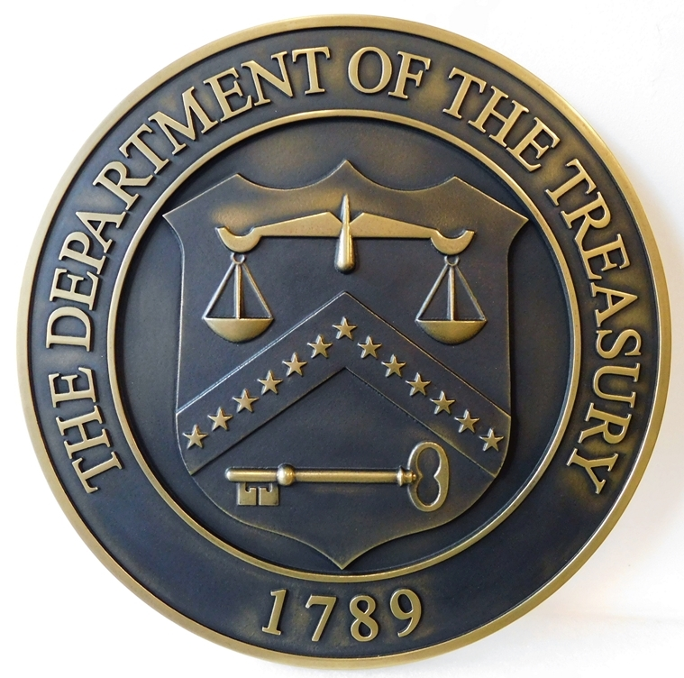AP-4680 - Carved Plaque of the Seal of the Department of the Treasury, 3-D Bronze Plated