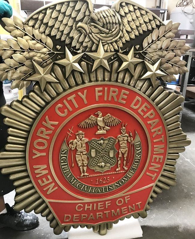 QP-1040 - Carved Wall Plaque of the  Badge of  New York City Fire Marshal, Brass Plated, Hand-Rubbed Black, Red Enamel Painted