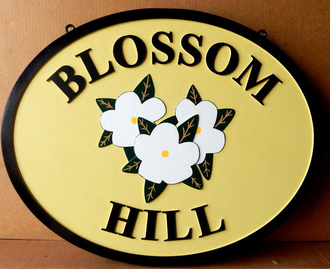 "I18222 -""Blossom Hill"" Property Name  Sign, with Carved Flowers as Artwork"