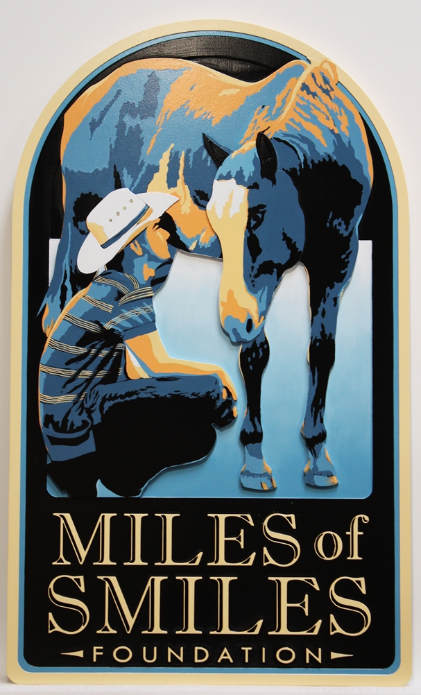 """P25013 - Artist-paintedCarved Sign """"Miles of Smiles Foundation"""" , with a Cowboy and his Horse as Artwork"""