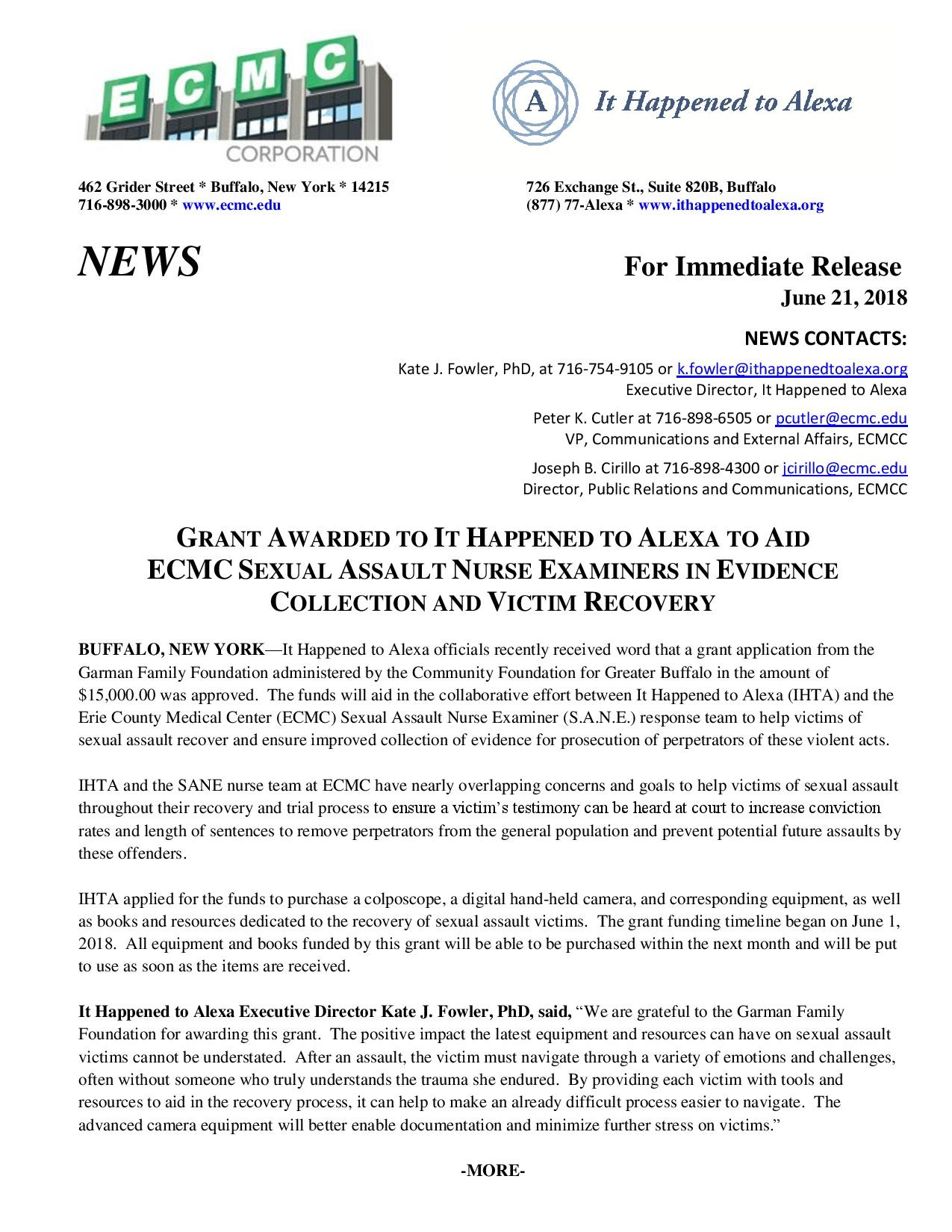 IHTA-ECMC-Garman Press Release