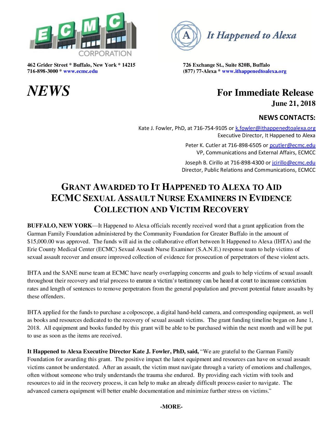 IHTA-ECMC-Garman Press Release
