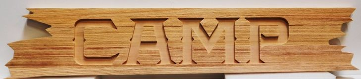 G16339 - Rustic Carved and Sandblasted  Western Red Cedar Sign  for a Camp