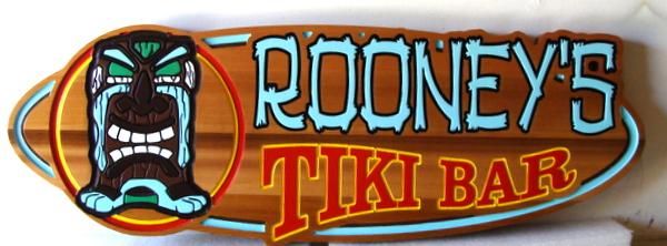 """Y27218 - Carved Cedar Tropical Bar Sign, for """"Roony's Tiki Bar"""""""