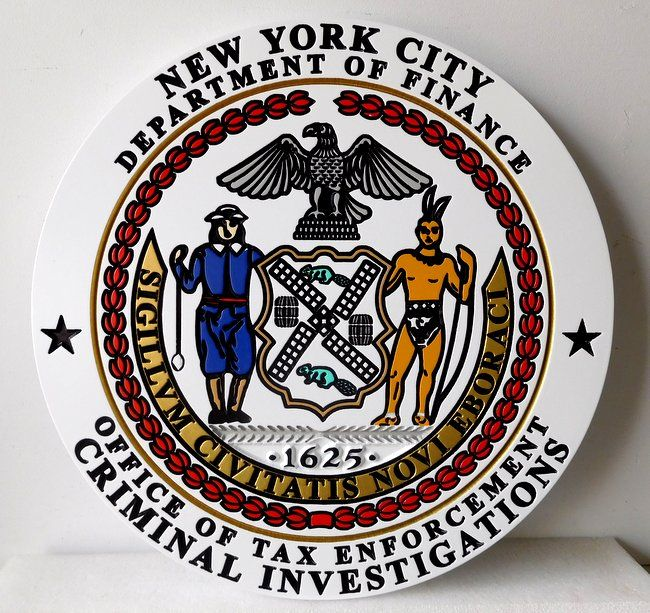 PP-3060 -  Engraved  Wall Plaque of the Seal of the New York City Office of Tax Enforcement Criminal Investigations,  Artist Painted