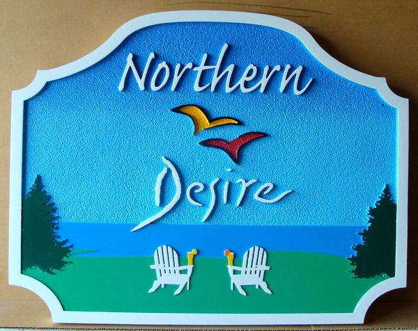 """M22434 - Carved 2.5-D  HDU Lakefront Cottage Name Sign, """"Northern Desire"""", with Two Chairs and a Lake View"""