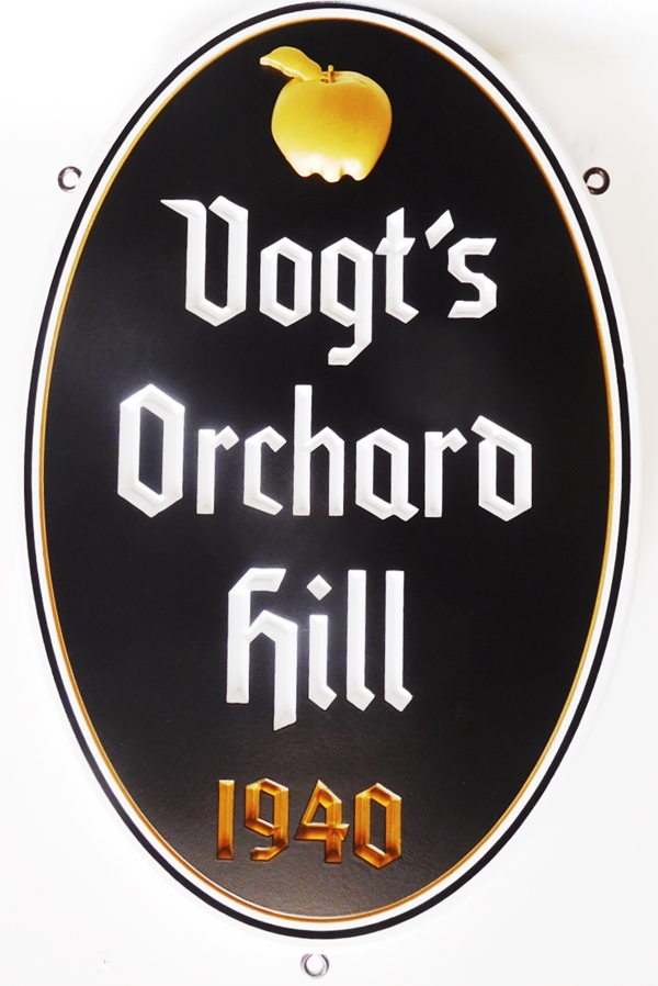 "I18360 - Carved High-Density-Urethane (HDU)  Property Name  Sign ""Vogt's Orchard Hill"", 2.5D with an Artist-Painted Apple and Text"