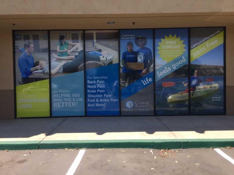 Storefront see-through window graphics in Tustin CA