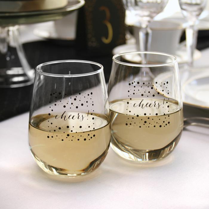Cheers! Stemless Wine Set
