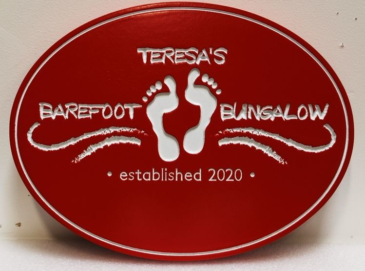 "L21099 - Engraved HDU Beach House Name Sign ""Theresa's Barefoot Bungalow"", with Two Footprints as Artwork"