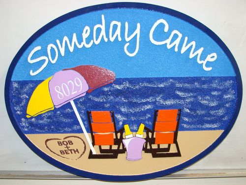 AG119 - Carved Beach House Sign, with Two Chairs and Umbrella