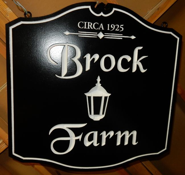 "O24016 - Engraved Carved Entrance Sign for ""Brock Farm"", with Lantern"